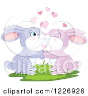 Clipart Of A Cute Valentine Bunny Rabbit Couple Kissing Royalty Free Vector Illustration