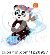 Clipart Of A Cute Panda Sledding Through The Snow Royalty Free Vector Illustration
