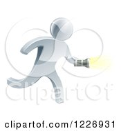 Clipart Of A 3d Silver Man Running With A Flashlight Royalty Free Vector Illustration