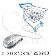 Clipart Of A 3d Shopping Cart And Connected Computer Mouse Royalty Free Vector Illustration
