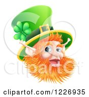 Clipart Of A Happy St Patricks Day Leprechaun Wearing A Top Hat Royalty Free Vector Illustration by AtStockIllustration