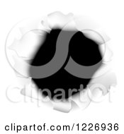 Clipart Of A Hole Torn Through White Paper Royalty Free Vector Illustration by AtStockIllustration