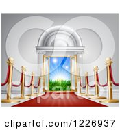 Clipart Of A Red Carpet And Poles Leading To A Doorway Royalty Free Vector Illustration