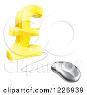 Clipart Of A Golden Pound Currency Symbol Connected To A Computer Mouse Royalty Free Vector Illustration