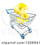 Clipart Of A Gold Dollar Symbol In A Shopping Cart Royalty Free Vector Illustration