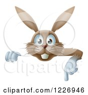 Clipart Of A Happy Brown Rabbit Pointing Down At A Sign Royalty Free Vector Illustration