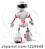 Clipart Of A 3d White And Orange Male Techno Robot Walking Royalty Free Illustration