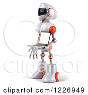 Clipart Of A 3d White And Orange Male Techno Robot Holding A Laptop 2 Royalty Free Illustration