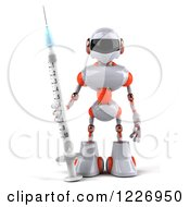 3d White And Orange Male Techno Robot With A Vaccine Syringe