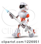 Clipart Of A 3d White And Orange Male Techno Robot With A Vaccine Syringe 2 Royalty Free Illustration