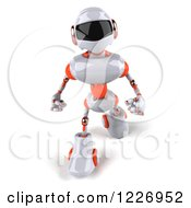 3d White And Orange Male Techno Robot Walking 2