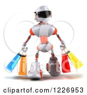 Clipart Of A 3d White And Orange Male Techno Robot Carrying Shopping Bags 3 Royalty Free Illustration