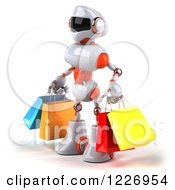 Clipart Of A 3d White And Orange Male Techno Robot Carrying Shopping Bags 2 Royalty Free Illustration
