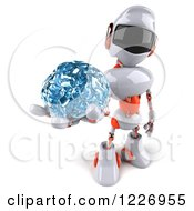 3d White And Orange Male Techno Robot Holding Out A Brain