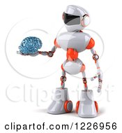 Clipart Of A 3d White And Orange Male Techno Robot Holding Out A Brain 2 Royalty Free Illustration by Julos
