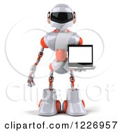 3d White And Orange Male Techno Robot Holding A Laptop