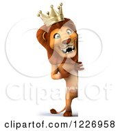 Clipart Of A 3d Lion King Looking Around A Sign Royalty Free Illustration