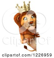 Clipart Of A 3d Lion King Looking Around A Sign 2 Royalty Free Illustration