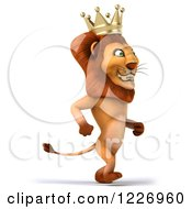 Clipart Of A 3d Lion King Walking Upright Royalty Free Illustration