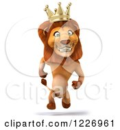 Clipart Of A 3d Happy Lion King Running Upright Royalty Free Illustration