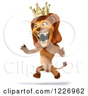 Clipart Of A 3d Roaring Lion King Running Upright Royalty Free Illustration
