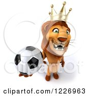 Clipart Of A 3d Lion King Holding A Soccer Ball Royalty Free Illustration