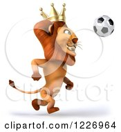 Clipart Of A 3d Lion King Playing Soccer Royalty Free Illustration