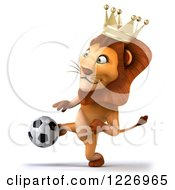 Clipart Of A 3d Lion King Playing Soccer 2 Royalty Free Illustration