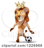 Clipart Of A 3d Lion King Playing Soccer 3 Royalty Free Illustration