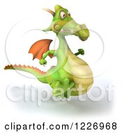 Clipart Of A 3d Green Dragon Running Royalty Free Illustration by Julos