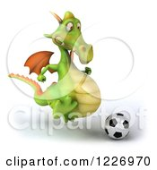 Clipart Of A 3d Green Dragon Playing Soccer Royalty Free Illustration by Julos