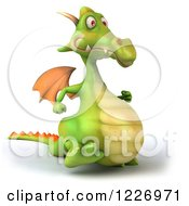 Clipart Of A 3d Green Dragon Walking Royalty Free Illustration by Julos