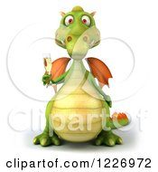 Clipart Of A 3d Green Dragon Toasting With Champagne Royalty Free Illustration