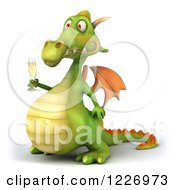 3d Green Dragon Toasting With Champagne