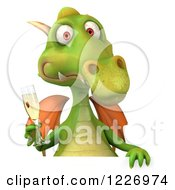Clipart Of A 3d Green Dragon Toasting With Champagne Over A Sign Royalty Free Illustration