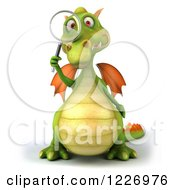 Clipart Of A 3d Green Dragon Searching With A Magnifying Glass Royalty Free Illustration