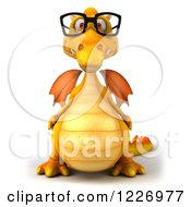 Clipart Of A 3d Yellow Dragon Wearing Glasses Royalty Free Illustration