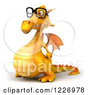 3d Yellow Dragon Wearing Glasses