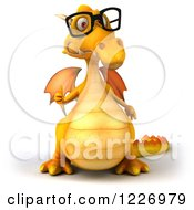 Clipart Of A 3d Yellow Dragon Wearing Glasses And Holding A Thumb Up Royalty Free Illustration