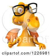 Clipart Of A 3d Bespectacled Yellow Dragon Holding A Thumb Up Over A Sign Royalty Free Illustration