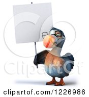 Clipart Of A 3d Dodo Bird Wearing Glasses And Holding A Sign Royalty Free Illustration