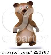Clipart Of A 3d Brown Bear Mascot Running Forward Royalty Free Illustration by Julos