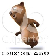 Clipart Of A 3d Brown Bear Mascot Running To The Left Royalty Free Illustration by Julos