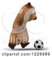 Clipart Of A 3d Brown Bear Mascot Playing Soccer 6 Royalty Free Illustration by Julos
