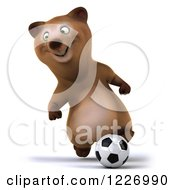 Clipart Of A 3d Brown Bear Mascot Playing Soccer 7 Royalty Free Illustration by Julos