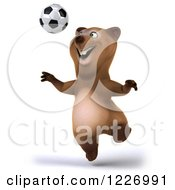 Clipart Of A 3d Brown Bear Mascot Playing Soccer 8 Royalty Free Illustration by Julos