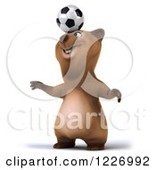 Clipart Of A 3d Brown Bear Mascot Playing Soccer 9 Royalty Free Illustration by Julos