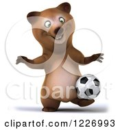 Clipart Of A 3d Brown Bear Mascot Playing Soccer 10 Royalty Free Illustration by Julos