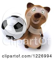 Clipart Of A 3d Brown Bear Mascot Playing Soccer 11 Royalty Free Illustration by Julos