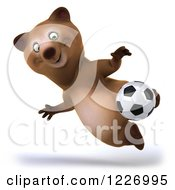 Clipart Of A 3d Brown Bear Mascot Playing Soccer 12 Royalty Free Illustration by Julos